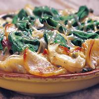 Peppery Scalloped Potato & Spinach Casserole