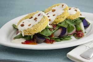 Fried Green Tomato Salad with Bacon Ranch Dressing